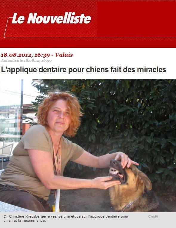 L'applique dentaire pour chiens fait des miracles.
